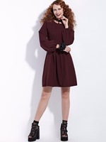 Women Autumn Gothic Dress Burgundy Lantern Sleeve A Line Draped Causal Dress Elegant Fashion Preppy Vintage