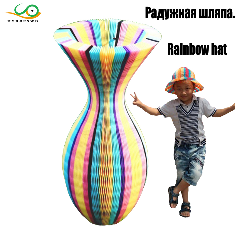 MYHOESWD 15pieces/lot Rainbow Cartoon Hats Toys 3D Paper Handmade Craft Gifts Kits Birthday Outdoor Hat Summer Toy For Children