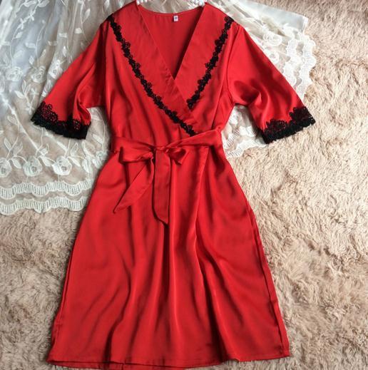 Red Ladies' Элегантное Атласное Одеяние Установить Половину Рукав Халат Платье Женщины Сексуальная Ночная Рубашка Кружева Пижамы Twinset Nighttie Домашней Одежды