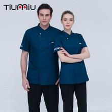 5 Färger 4XL Partihandel Kvinnor Män Kortmåliga Kök Restaurang Bakry Sushi Cake Shop Arbetskläder Kockjacka Högkvalitativ Uniform