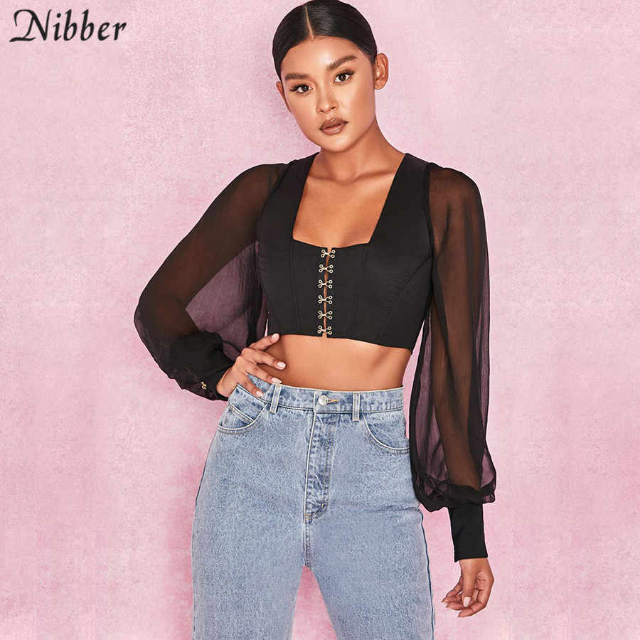 c87ce4649d ... Nibber sexy black square collar short jacket female mesh long-sleeved  slim wild shirt 2018 ...