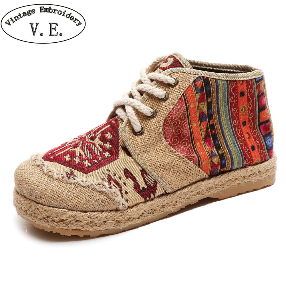 Thai Vintage Embroidered Women Shoes Boho Cotton Linen Canvas Single National Woven Round Toe Lace Up Cloth Shoes Woman Flats