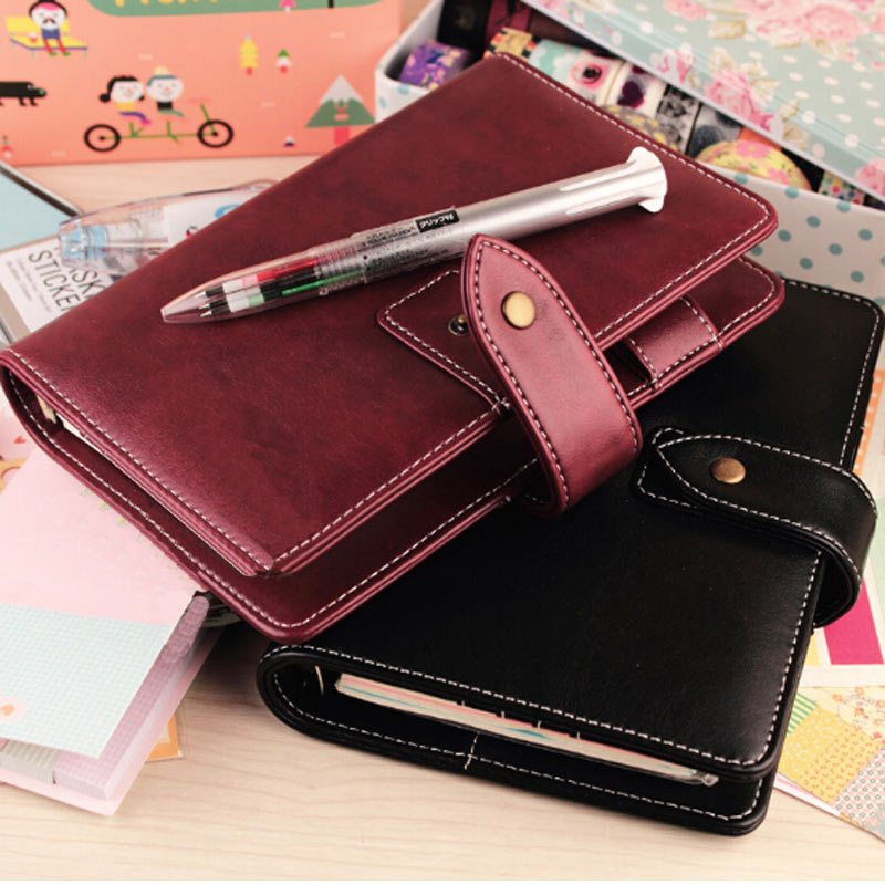 Leather Planner Notebook Red & Negru & Verde Frunze Loose Vintage Pu Leather Notebook A6 & A5