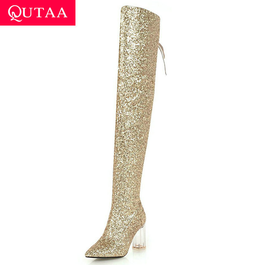 QUTAA 2020 Over The Knee Boots Sequins PU Sexy Pointed Toe Keep Warm Lace Up Transparent Square High Heel Women Shoes Size34-43QUTAA 2020 Over The Knee Boots Sequins PU Sexy Pointed Toe Keep Warm Lace Up Transparent Square High Heel Women Shoes Size34-43