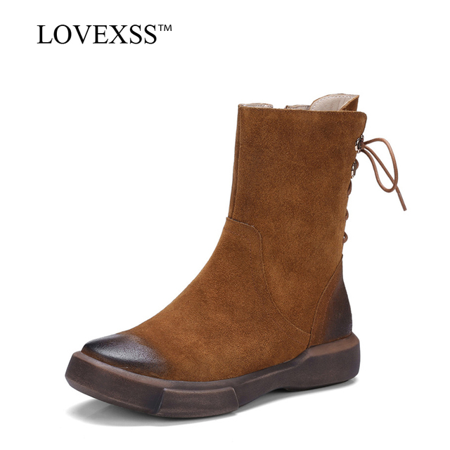 LOVEXSS Genuine Leather Motorcycle Boots Autumn Winter Martin Boots Black Brown Fashion Woman Flat With Ankle Boots Cross-tied
