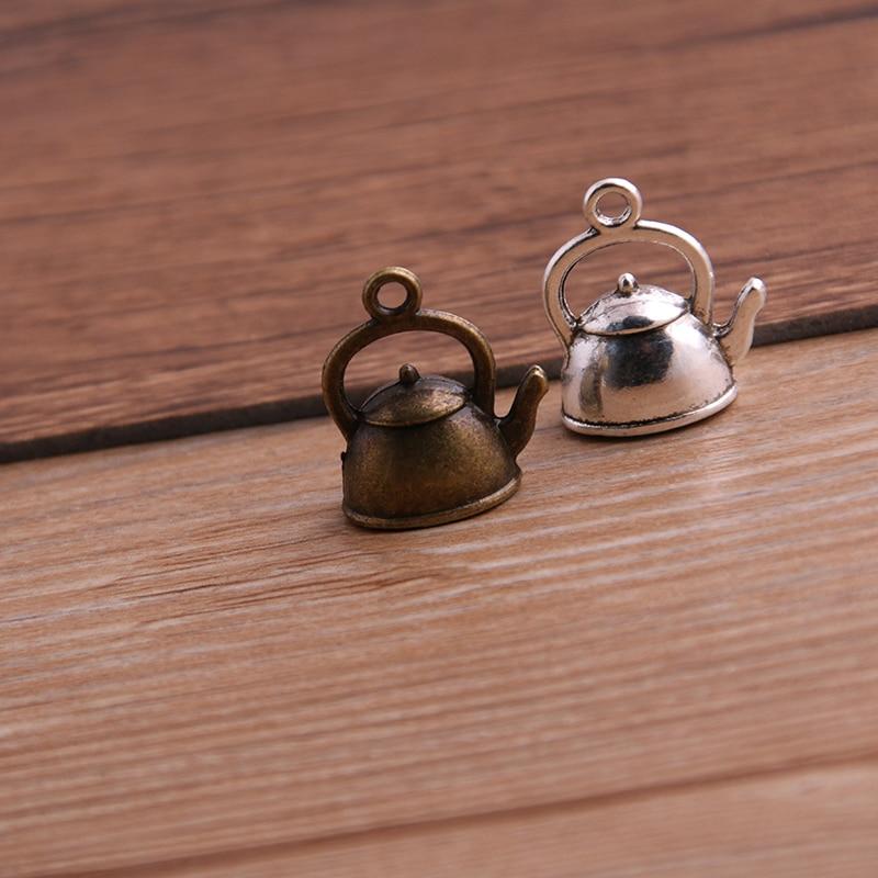 10PCS 10*17*19mm 3D Kettle Charms Teapot Pendant Two Color DIY Retro Jewelry Bracelet Necklace Charms Pendant 1