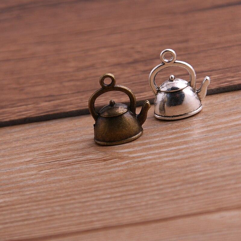 10 pçs 10*17*19mm 3d chaleira encantos bule pingente de duas cores diy retro jóias pulseira colar encantos pingente Encantos    - AliExpress