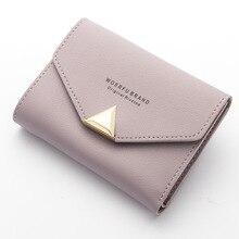 Маленький женский кошелек, кожаный конверт на застежке, короткие женские кошельки, мини-кошелек, мягкий корейский дизайн, кожаный держатель, сумка для монет