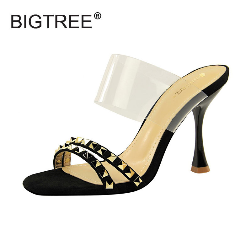 BIGTREE Womens Slippers Fashion Rivet Decoration Clear Ankle Strap Slippers For Women Size 34-40 Ladies Casual High Heels Slide
