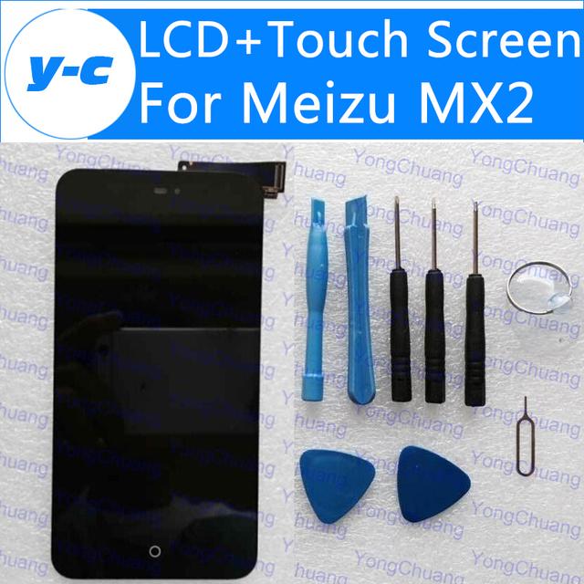 De pantalla para meizu mx2 100% nueva pantalla lcd + digitalizador táctil de cristal del panel en el envío libre + número de seguimiento