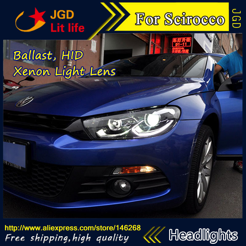 Free shipping ! Car styling LED HID Rio LED headlights Head Lamp case for VW Scirocco 2009-2015 Bi-Xenon Lens low beam