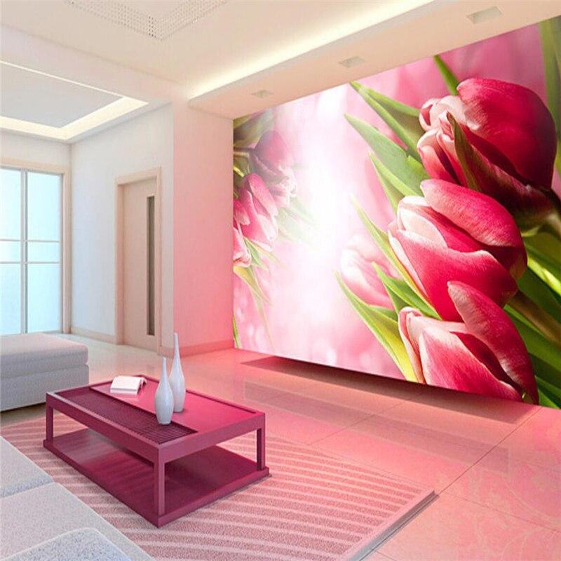 beibehang Custom 3d wallpaper 3d solid red tulip wallpaper TV ...