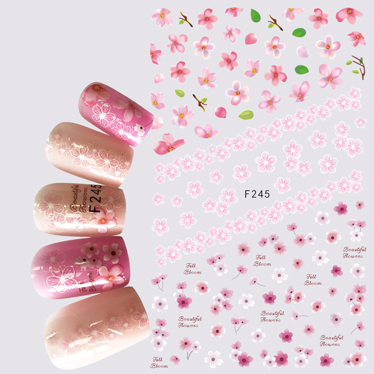 1pcs 3D Super Thin Nail Stickers Tips Nail Art Adhesive Decals Manicure Decoration Flower Sakura Lovely Nail Wraps F245 жюль верн север против юга сквозь блокаду