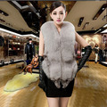 Winter new Haining fox fur vest short paragraph whole belt  grade female coat vest