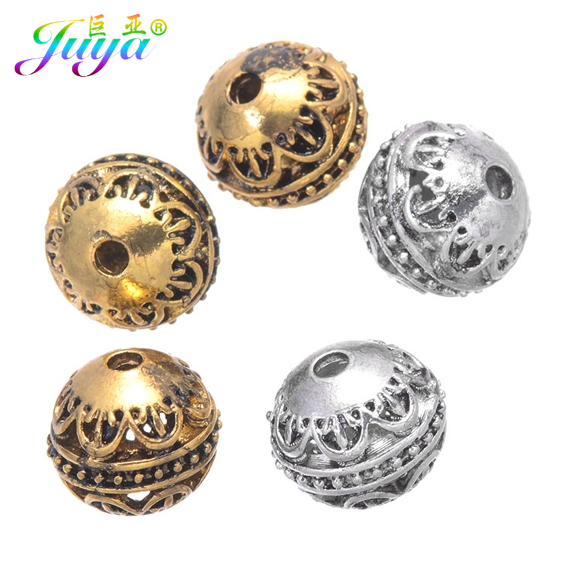 Lots 10Pcs Tibetan silver Heart Carved Round Shaped Hollow Spacer Bead dia 12mm