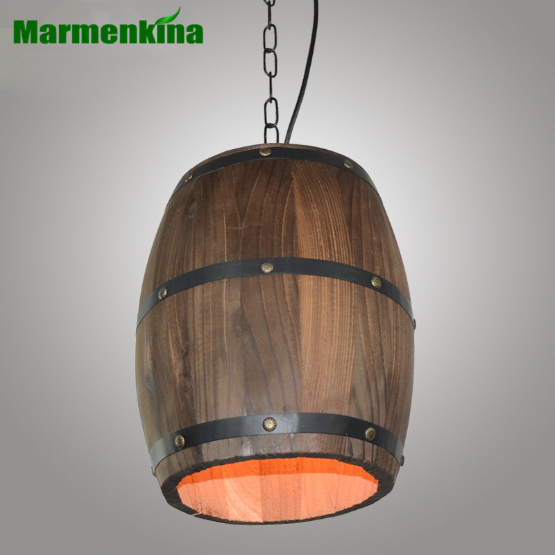 American retro wooden barrel chandelier log wine barrel lighting ...