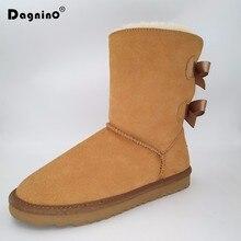 ФОТО dagnino lady brand classic australia short botas high quality women winter warm genuine leather bow snow boots plus size 44