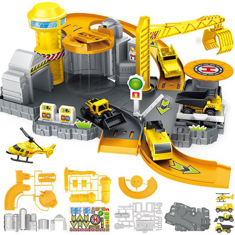 DIY Assembling Toys Engineering Car Parking Track Stitching Educational Toys Automotive Construction car Parking Lot Gift in Diecasts Toy Vehicles from Toys Hobbies