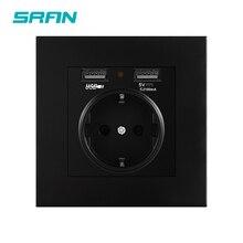 SRAN ЕС стандартный разъем Черный огнезащитный ПК Панель розетка электрическая с USB интерфейсом Семейные необходимые инструменты