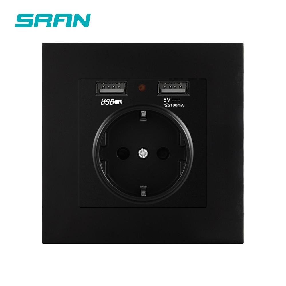 SRAN prise de courant ue, prise avec USB pour la maison, 16A 250V double usb 5V 2A panneau de PC 86mm * 86mm prise usb murale LED intelligente marche/arrêt
