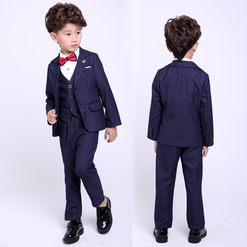 Children suit 2018 fashion children's clothing fall / winter boy striped suit performance clothing three / piece suit children s suit 2018 fashion england wind children s clothing autumn and winter boy plaid suit performance clothing