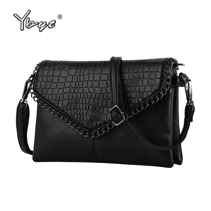 YBYT brand 2018 new vintage casual chains alligator women clutch hotsale ladies party purse shoulder messenger crossbody bags