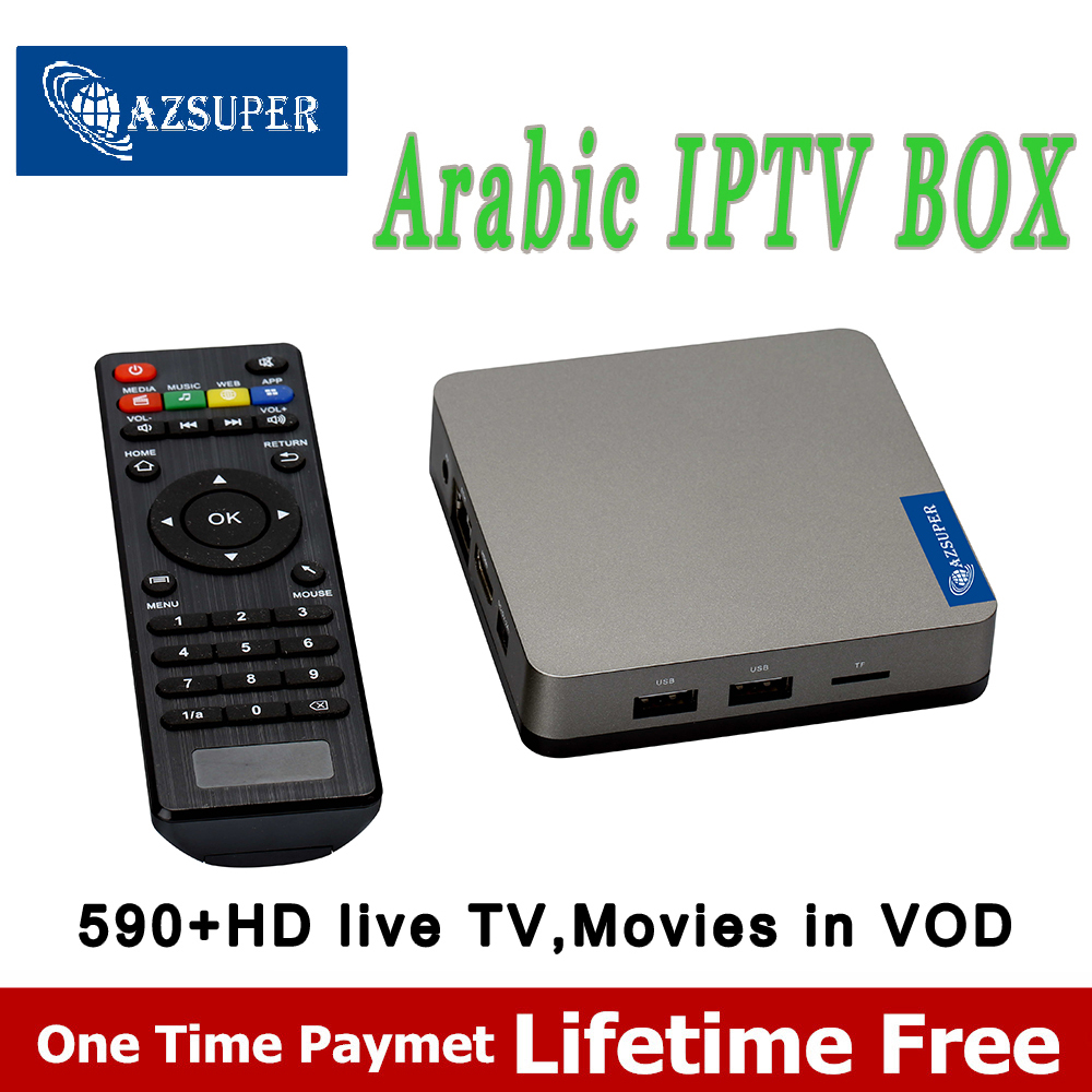 AZsuper Arabic IPTV box free forever free TV box ,no monthly fee support 590+Ara channels Smart IPTV box full loaded Arabic TV