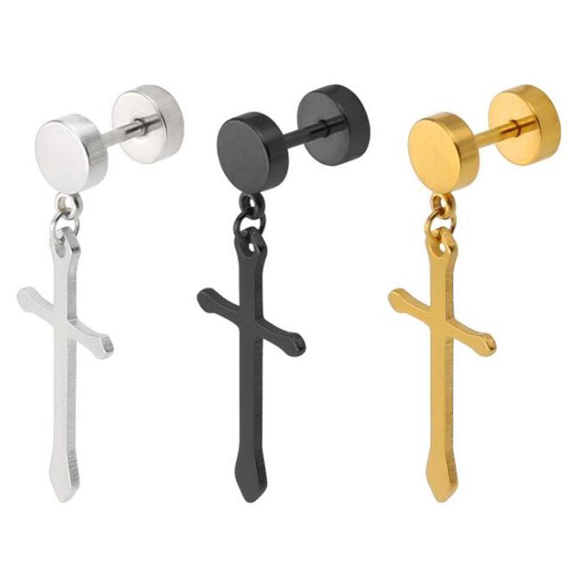 1Piece Punk Stainless Steel Stud Earring Men Long Cross Earring Fashion Round Barbell Crosses Body Piercing Jewelry Black