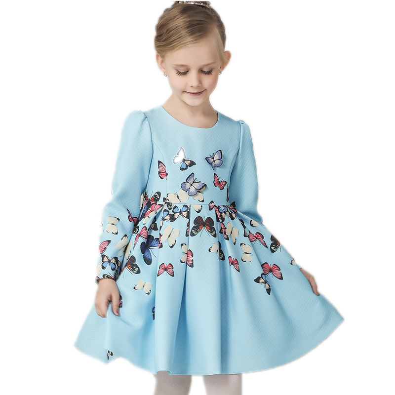 Girl Party Dress 2017 New European And American Style Butterfly Printed Long Sleeve Girl Dress Girls Dress Baby Dresses Girl 2014 new fashion fall european american style flower butterfly print sundress baby