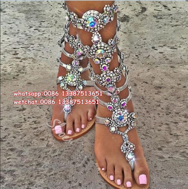 Plus Size 12 13 Top Quality Luxury Style Rhinestone Bohemia Woman Sandal Boots Knee High Summer