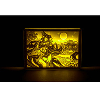 Anime Figure Acrylic Stereo LED Light Desk Lamp Sculpture Paper Carving Crystal Frame Lamp Creative Birthday Gift H80