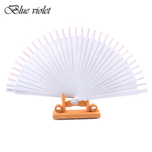 White Spanish Dance Performance Wooden Fans Old-Fashioned Wedding Clothing Accessories Folding Fan For Hand-Painted 45