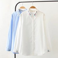 Small fresh embroidered white shirt female Korean version pure color loose fat mm long sleeved new shirt