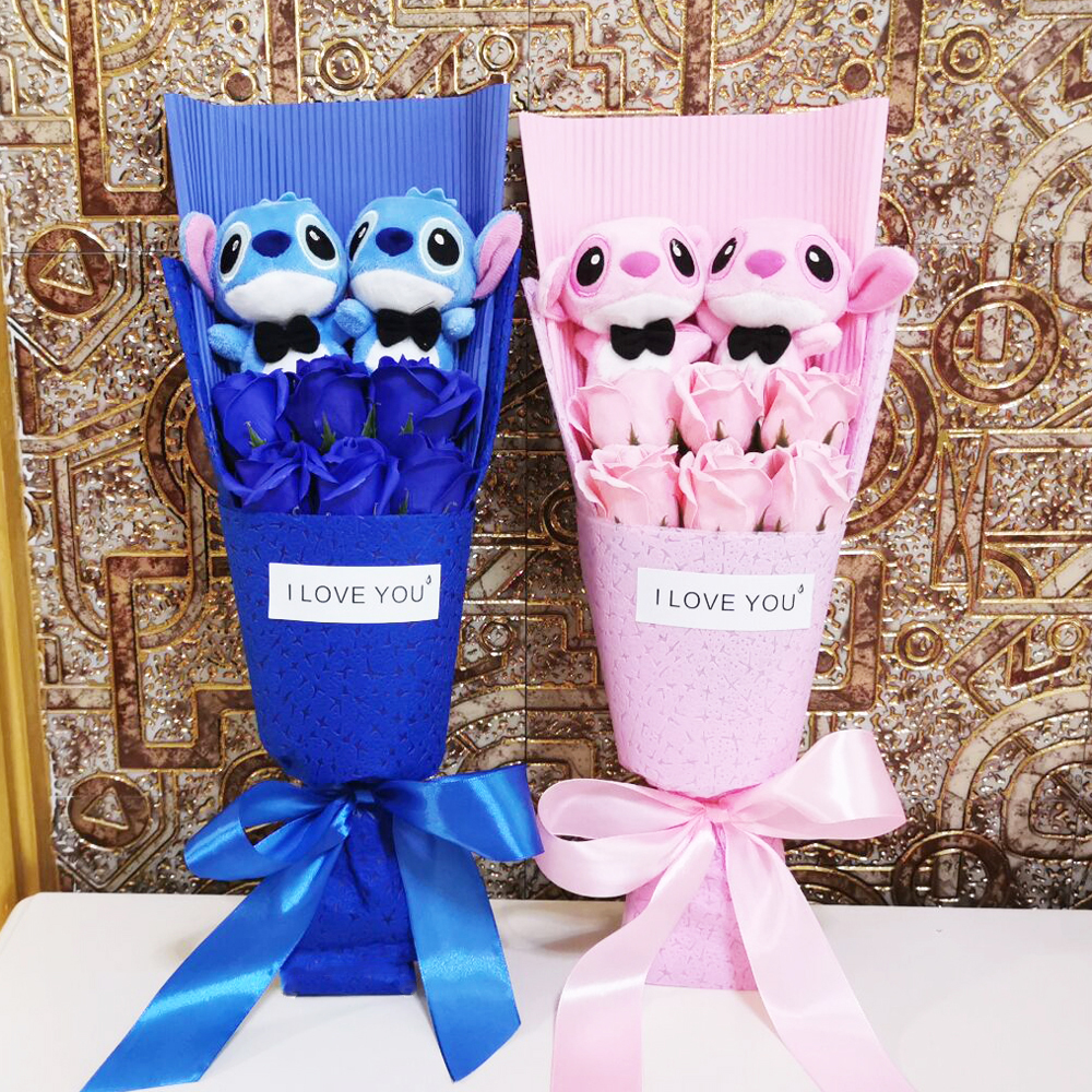 BOLAFYNIA Stitch Plush Toys Anime Lilo And Stitch Soft Stuffed Animal Dolls Plush Bouquets For Valentine's Day Christmas Gifts