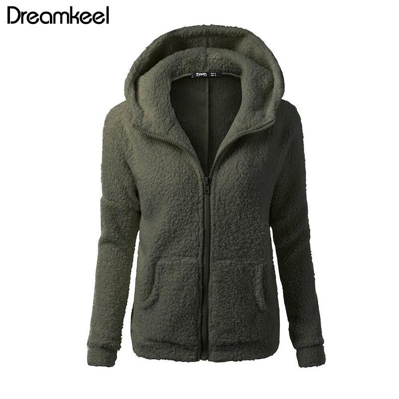 Solid Color Coat Women Thicken Soft Fleece Fashion Casual Outwear Coat Winter Autumn Warm Jacket Hooded Innrech Market.com