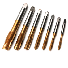 7pcs/set Titanium HSS  Spiral Hand Thread Tap Screw Spiral Point Thread Metric Plug Drill Bits M3 M4 M5 M6 M8 M10 M12 Hand Tools цена в Москве и Питере