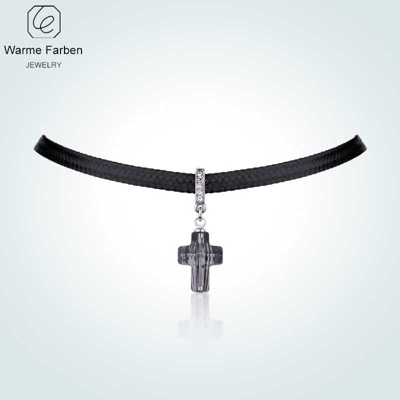 WARME FARBE Women Choker Necklace Baroque Crystal from Swarovski Cross Pendant  Necklace Clavicle with Black Rope 1e503f9e7a22