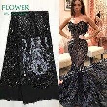 Высокое качество черные сетчатые кружева с блестками ткань Африканская нигерийская вышитая блестками гипюр тюль сетка кружева для индийской леди платье
