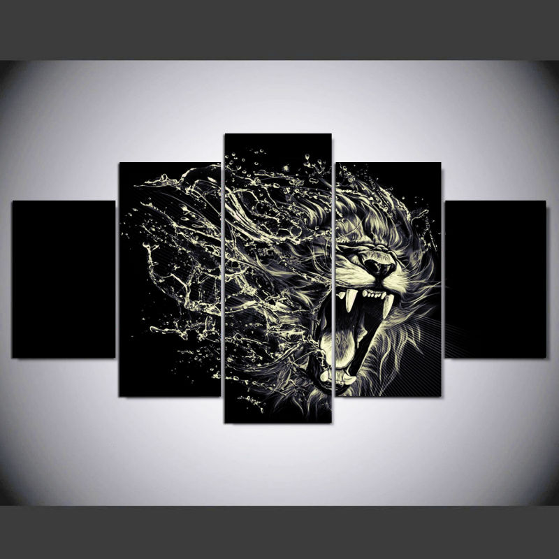 5 panel framed hd printed roaring black white lions animal large poster canvas oil painting wall pictures for living room in painting calligraphy from