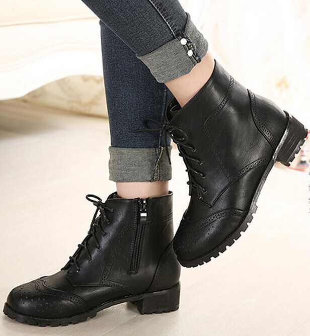 black nude lace up fashion women ankle boots heels female martin ...