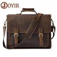 JOYIR Retro Men S Briefcase Genuine Leather Men S Business Bag Crazy Horse Vintage Shoulder Messenger