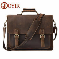 JOYIR Retro Men S Briefcase Genuine Leather Men S Business Bag Crazy Horse Vintage Shoulder Messenger