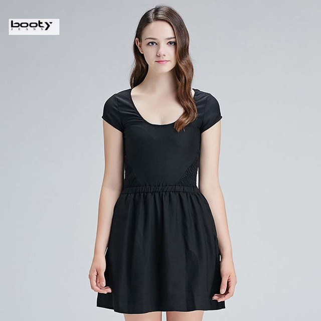 109b950272de Bootyjeans Brand High Quality Europe Style Summer Women s Short Sleeve  Round Collar Little Black Dresses Cute Female Basic Dress