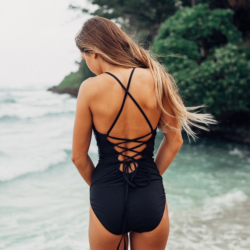 Sexy Badeanzug Frauen 2017 Sommer Beachwear Grüne blätter Schulter Bademode Badeanzüge Monokini Bodysuit Badeanzug