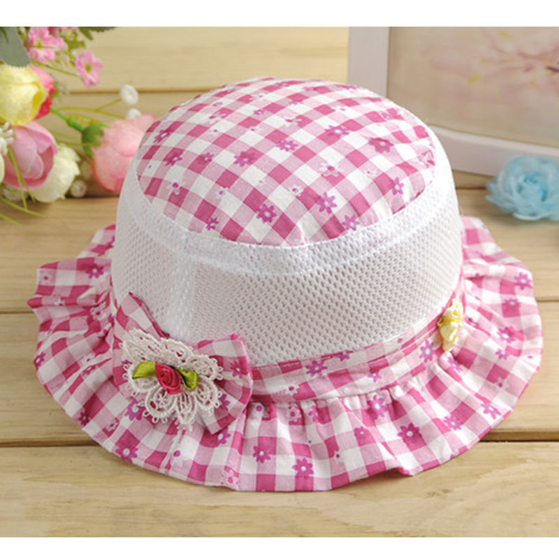 Panama Baby Hat Plaid Outdoor Bucket Hat Fashion Flower Kids Cap Sun Beach Cute Beanie Boy Girl Vacation Cap Baby Girls Clothing