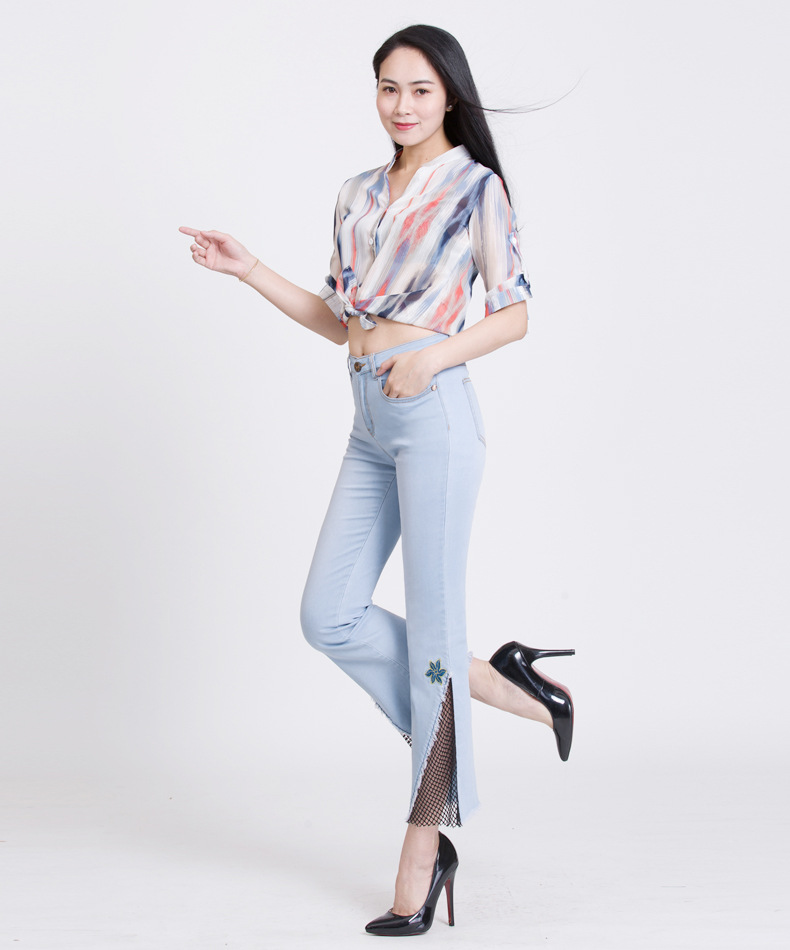KSTUN hight waist jeans woman bell bottom emboridered denim pants push up net designer women slim fit gloria+jeans plus size 36 13