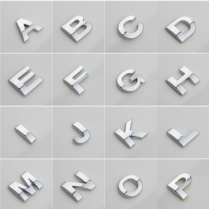 Motorcycle SUV 3D English Letter Car Stickers Digital Arabic Numbers Decals DIY Badge Logo Emblem For