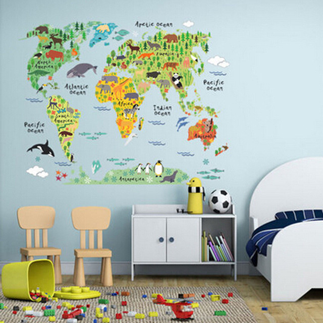 6090cm pvc colorful animal travel world map kids room decor wall 6090cm pvc colorful animal travel world map kids room decor wall sticker wallpaper geographic gumiabroncs Gallery