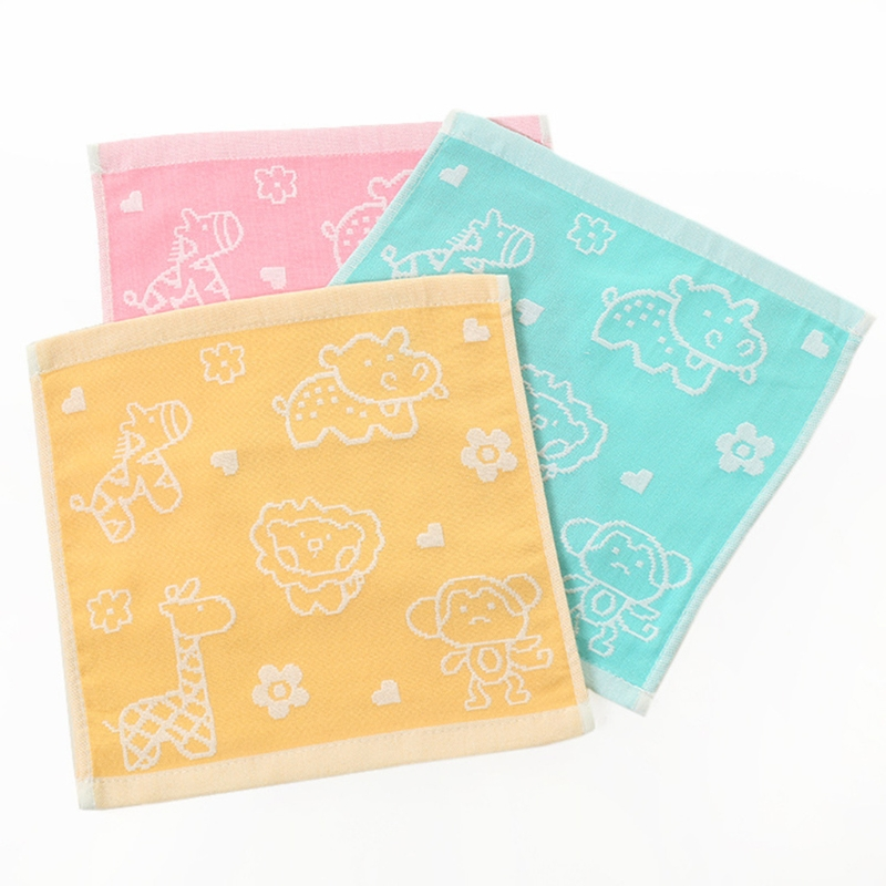 Top Quality Baby Towel Blend Cotton Double Layer Gauze Soft Wipe Square Animals For Children