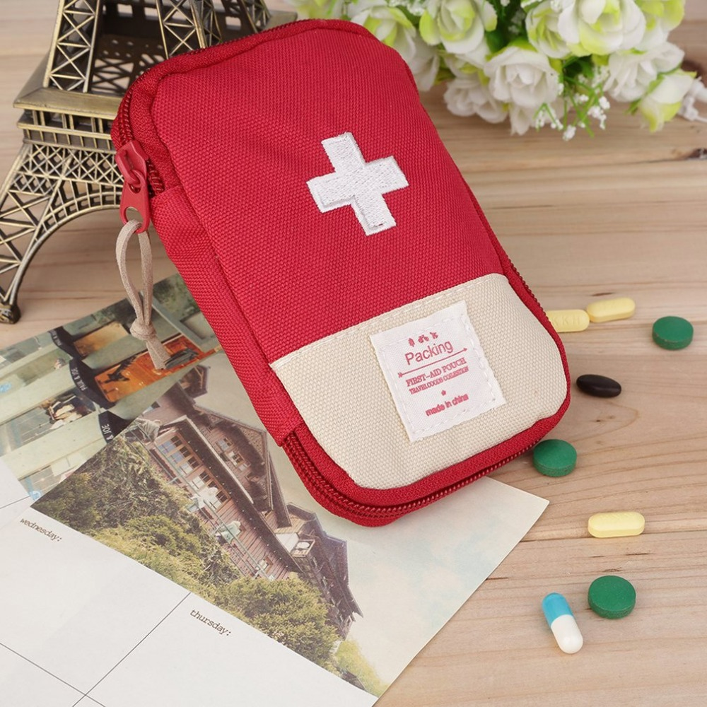 Mini First Aid Kit Bag Durable Outdoor Camping Home Survival Portable Case Convenient Handle For Easy-carrying 3 Colors Optional